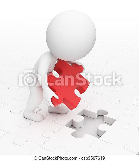 petit, puzzle, 3d, -, gens - csp3567619