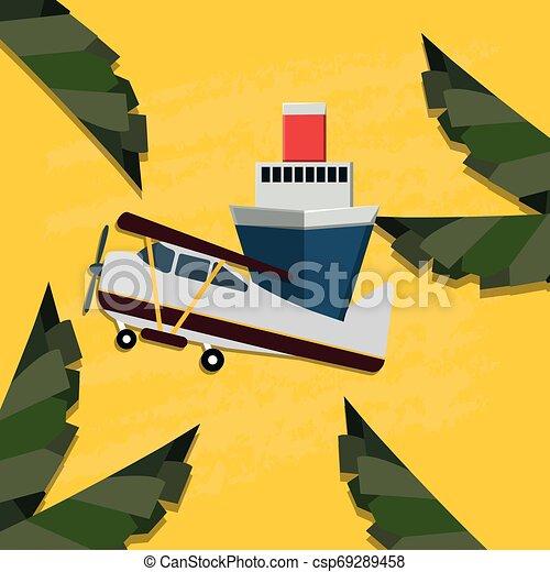 petit, voyage, avion, croisière bateau - csp69289458