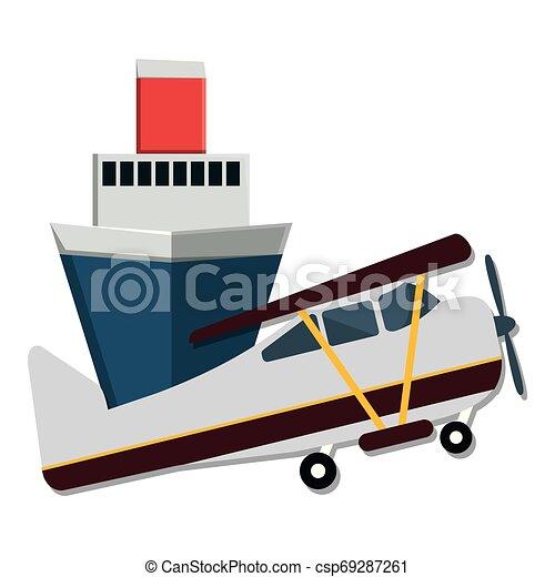 petit, voyage, avion, croisière bateau - csp69287261