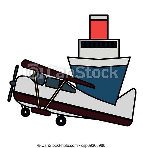 petit, voyage, avion, croisière bateau - csp69368988