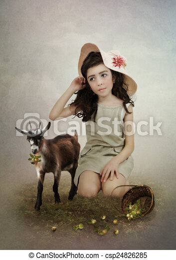 Petite Fille Chèvre