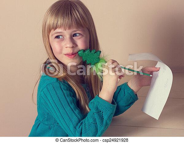 petite fille, dessin - csp24921928