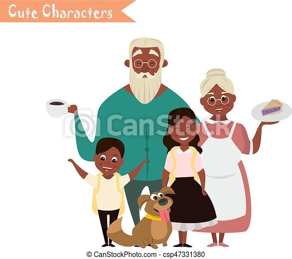 Petite Fille Grand Mère Grandson Grand Père