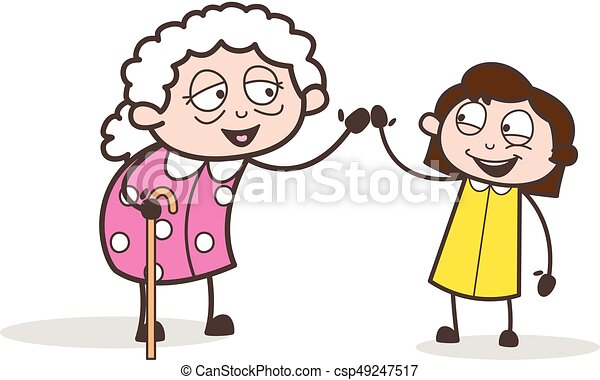 Petite Fille Illustration Avoir Vecteur Ensemble Grand Maman Amusement Dessin Animé