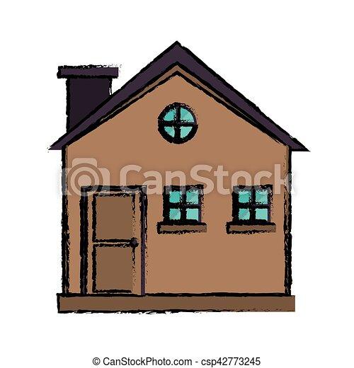 Petite Maison, Bois, Dessin, Cheminée, Extérieur   Csp42773245