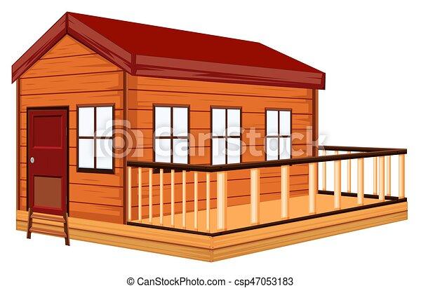 Petite Maison Bois Terrasse Illustration
