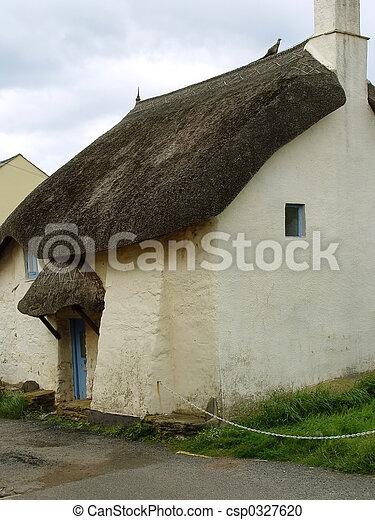 petite maison, couvert chaume - csp0327620