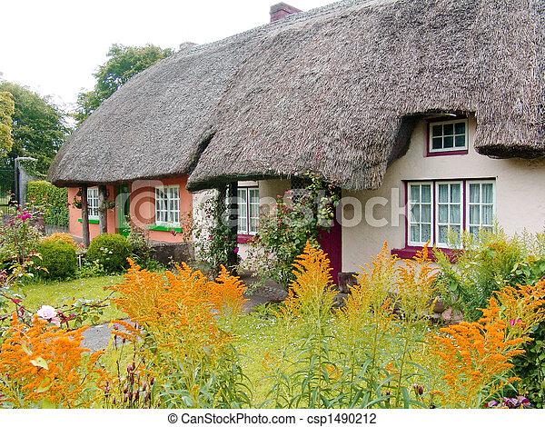Petite Maison, Couvert Chaume, Irlande, Toit, Typique   Csp1490212