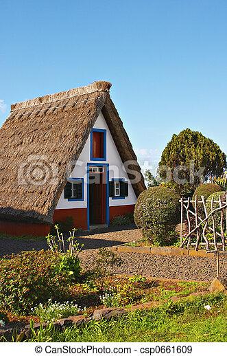 petite maison, couvert chaume - csp0661609