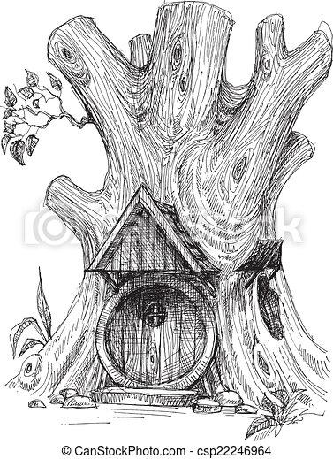 Petite Maison Croquis Arbre Creux