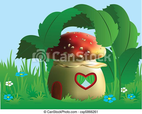 petite maison, fée-conte, forêt, content - csp5866261