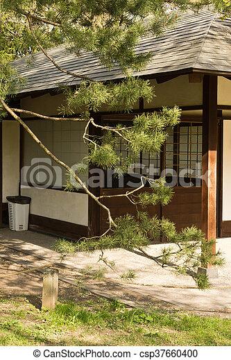 Petite maison, japonais jardin. Japonaise, été, petit, jardin, maison.