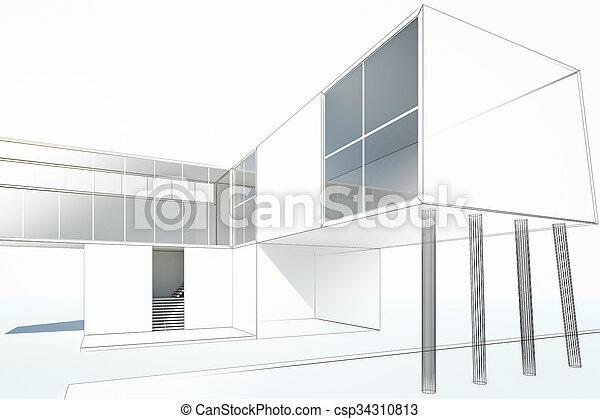 petite maison, moderne, dessin