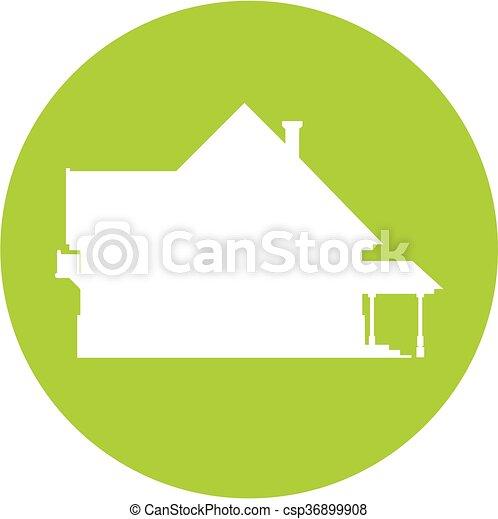petite maison, silhouette, icône - csp36899908