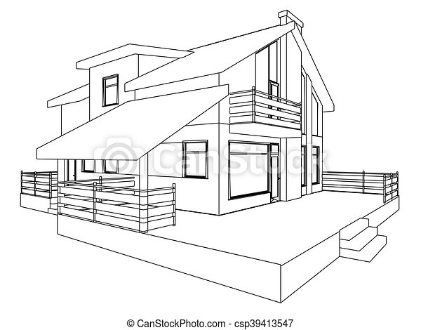 Eps Petite Maison Perspective Outlines D  Vecteur Eps