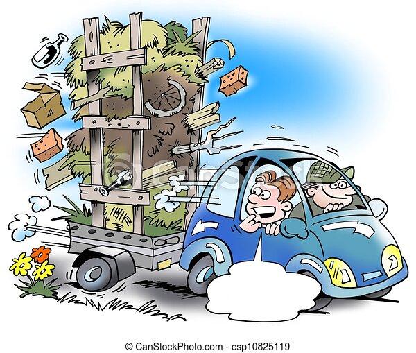 Petite voiture surcharg caravane beaucoup - Dessin humoristique voiture ...