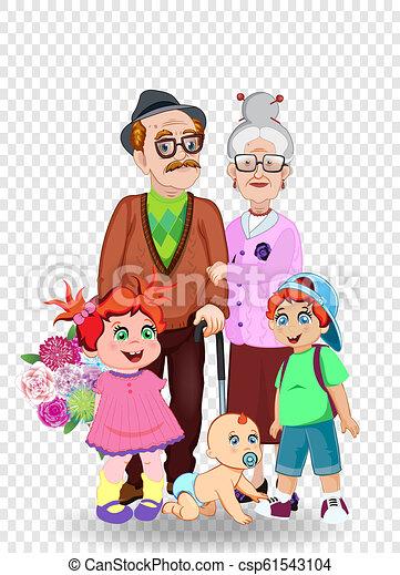 Petits Enfants Grands Parents Illustration Vecteur Ensemble Dessin Animé