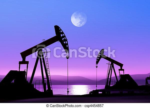 Bombas de aceite por la noche - csp4454857