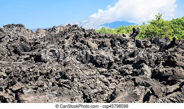 petrified lava flow after volcano Etna eruption - csp45798599