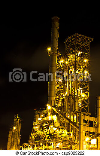 Petrochemical plant in the night , Thailand - csp9023222