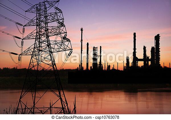 petrochemical, refinaria óleo, voltagem alta, pose, planta - csp10763078