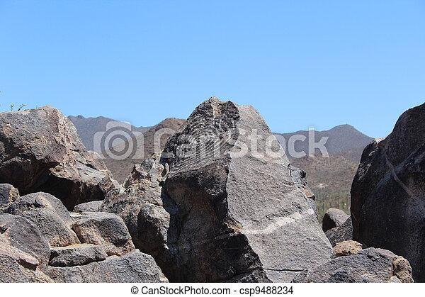 Petroglyph on Rock in Arizona - csp9488234