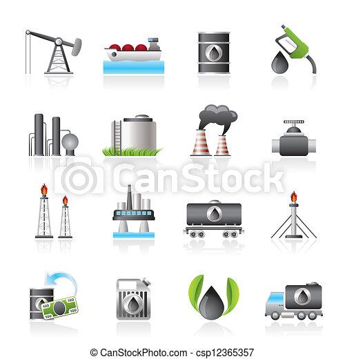 petrol, indústria, óleo, ícones - csp12365357