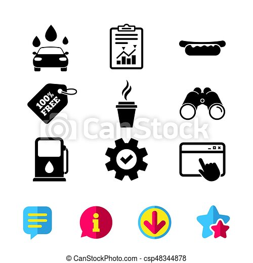 Petrol Or Gas Station Services Icons Car Wash Petrol Or Gas