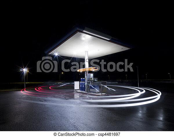 Petrol station at night - csp4481697
