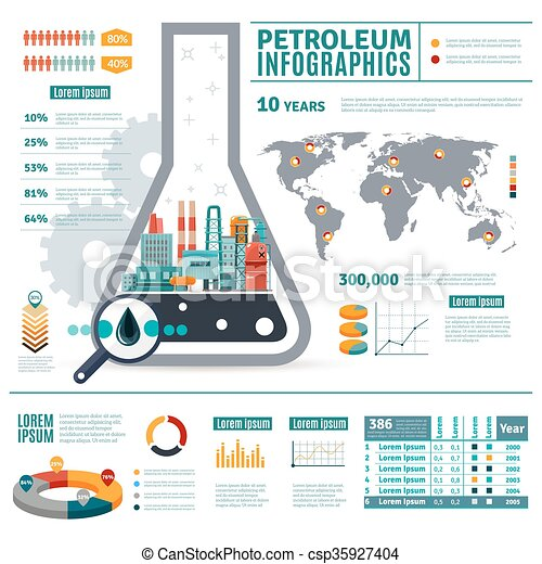 Petroleum industry infographics with oil drop map of world diagrams petroleum industry infographics csp35927404 ccuart Images