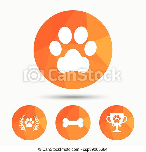 Pets icons. Dog paw sign. Winner laurel wreath. - csp39285664
