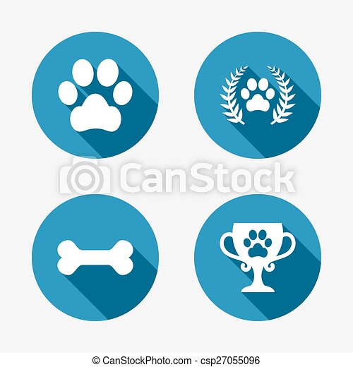 Pets icons. Dog paw sign. Winner laurel wreath. - csp27055096