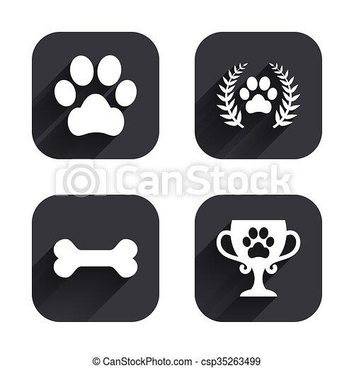 Pets icons. Dog paw sign. Winner laurel wreath. - csp35263499