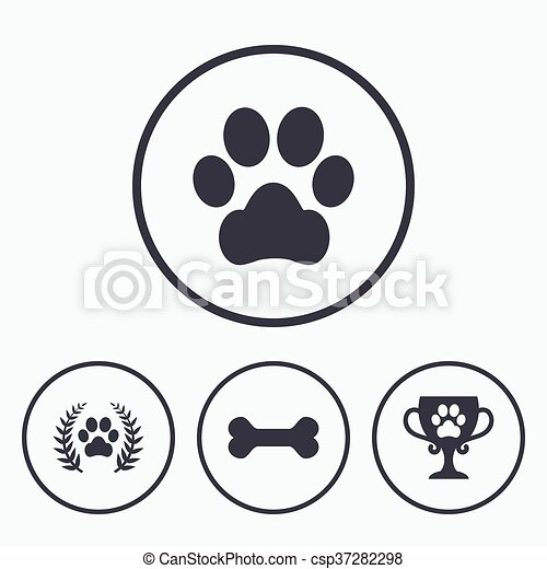 Pets icons. Dog paw sign. Winner laurel wreath. - csp37282298