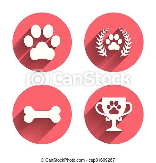 Pets icons. Dog paw sign. Winner laurel wreath. - csp31609287
