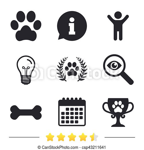 Pets icons. Dog paw sign. Winner laurel wreath. - csp43211641