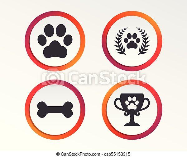 Pets icons. Dog paw sign. Winner laurel wreath. - csp55153315