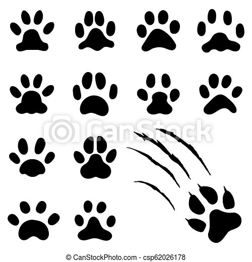 Pets Paw Footprint Cat Paws Prints Kitten Foots Or Dog Foot Print