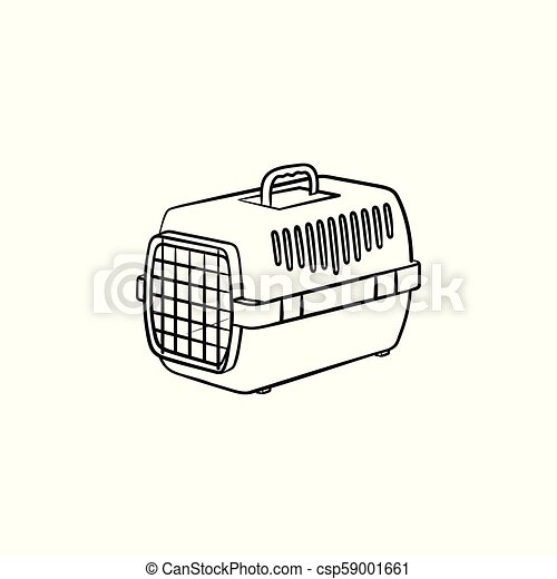 Pets Transport Box Hand Drawn Outline Doodle Icon