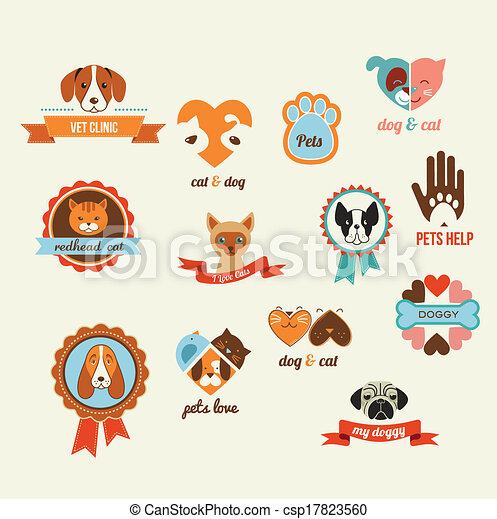 Pets vector icons - cats and dogs elements - csp17823560