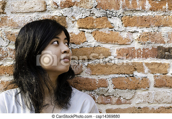 Petty young brunette woman  against a Brick Wall - csp14369880