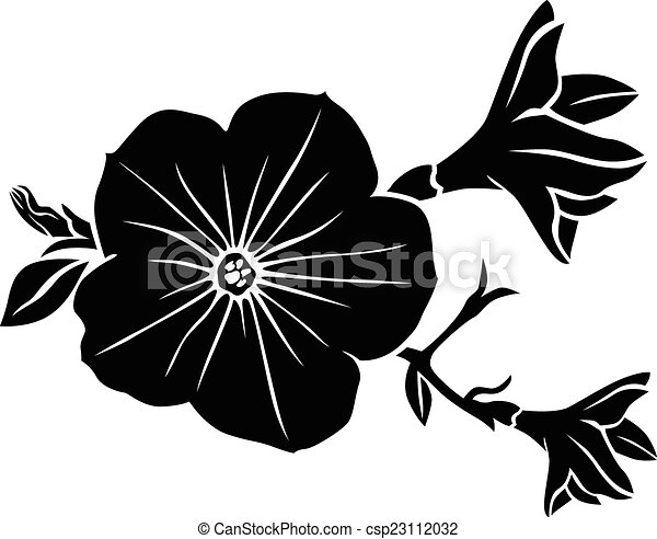 petunia flower silhouette vector illustrations of vectors rh canstockphoto com flower silhouette vector free download flower petal silhouette vector