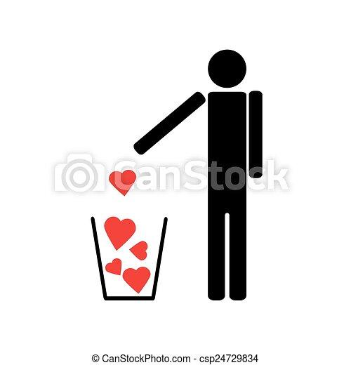 peu, cœurs, déchets ménagers, dehors, jets, rouges, homme - csp24729834