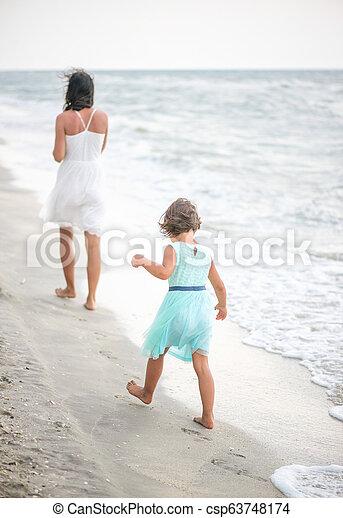 peu, concept, elle, essayer, promenade, mother., education, pas, girl - csp63748174