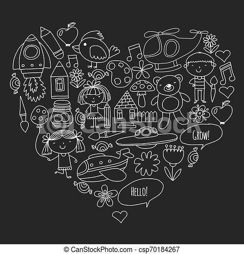 peu, elements., icônes, enfants, toys., vecteur, jardin enfants, jeu, apprendre, grandir, ensemble. - csp70184267