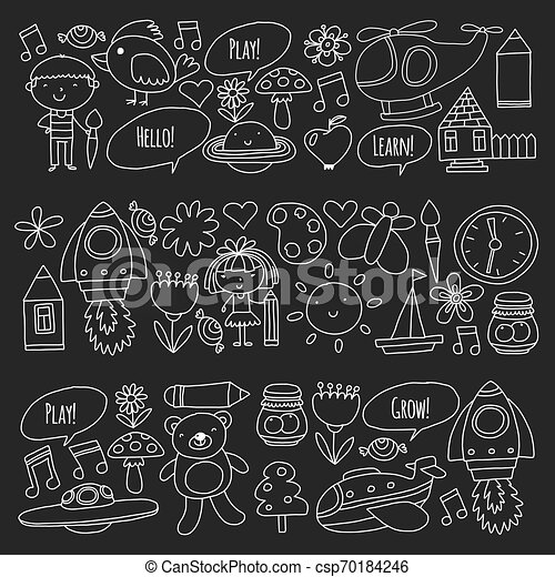 peu, elements., icônes, enfants, toys., vecteur, jardin enfants, jeu, apprendre, grandir, ensemble. - csp70184246