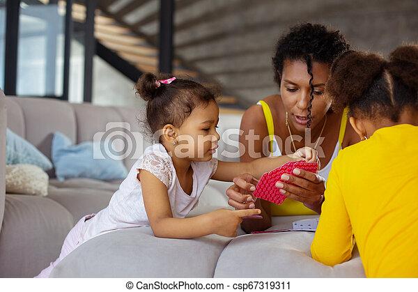 peu, elle, jeu, portion, maman, cartes, girl - csp67319311
