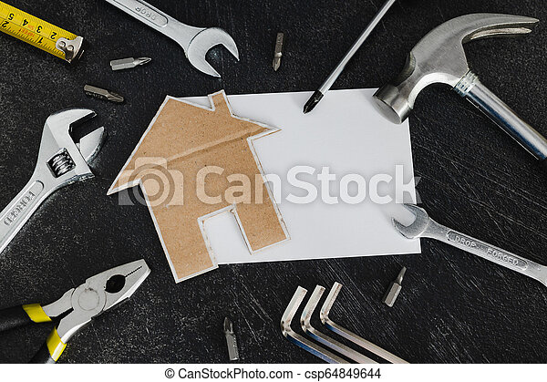 peu, ensemble, copyspace, texte, ajouter, bricolage, maison, carton, outils, ton - csp64849644