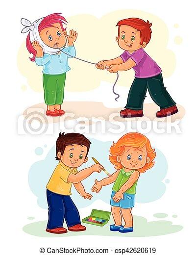 peu, ensemble, enfants, malade, icônes - csp42620619