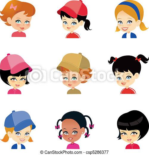 peu, ensemble, girl, dessin animé, faces - csp5286377